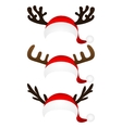 Set of funny hat Santa Claus with reindeer horns vector image