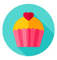 lovely cupcake circle icon vector image