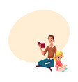 young man and little girl reading books sitting vector image