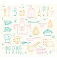 Kitchen supplies sketch set vector image