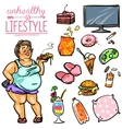 Unhealthy Lifestyle - Woman vector image