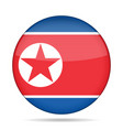 flag of north korea shiny round button vector image