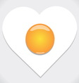 Heart shape from fried egg vector image