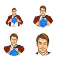 set of pop art round avatar icons for users vector image