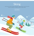 Skiing Banner Skiers on Snowy Slope Competition vector image