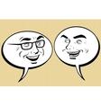 Two happy men talking Comic bubble smiley face vector image