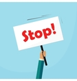 Hand holding stop placard vector image vector image