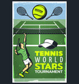 colored vintage tennis championship poster vector image