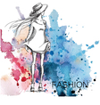 fashion sketch on a watercolor background vector image vector image