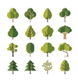Green summer forest tree flat icons vector image