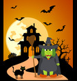 halloween background with witch and full moon vector image