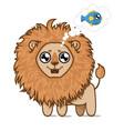 hungry lionlion cub dreams of delicious fish vector image