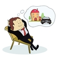Man dreaming house and car vector image