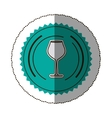 sticker color round frame with glass of champagne vector image