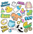 New Born Baby Stickers Patches Badges Scrapbook vector image