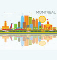 montreal skyline with color buildings blue sky vector image