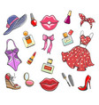 girls fashion hand drawn elements vector image