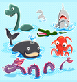 Monsters Of The Deep Blue Sea Collection Set vector image