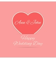 Wedding Day card with red heart vector image