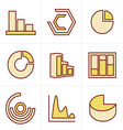 Icons Style Simple set of diagram and graphs relat vector image