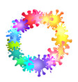 round frame of multicolored blots of paint with vector image