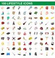 100 lifestyle icons set cartoon style vector image