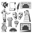 vintage theatre elements collection vector image