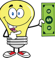 Light bulb with cash vector image vector image