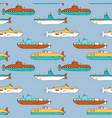 seamless pattern with cartoon submarines vector image