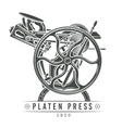 Platen press  Old letterpress vector image