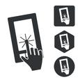 Smartphone touchscreen icon set monochrome vector image
