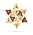 Set of few different tasty Hamantaschen vector image