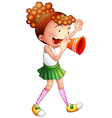 A girl with a noise maker vector image