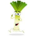 cartoon happy leek character vector image