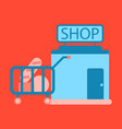 Flat icon shop cart with vector image
