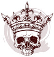 graphic color human skull with king crown vector image