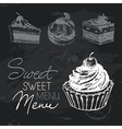 Sweet cakes hand drawn chalkboard design set vector image