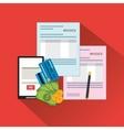 smartphone document paymet financial item vector image