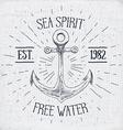 Hand drawn sketched anchor textured grunge vintage vector image