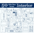50 icons for Interior Thin line set in blue vector image