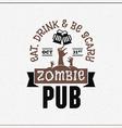 Retro Vintage Happy Halloween Badge Zombie Pub vector image