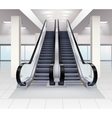 Up And Down Escalators Interior Concept vector image