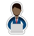 businessman character avatar with laptop vector image