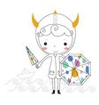Fairytale viking - rain kids vector image