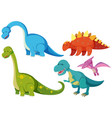 five types of dinosaurs on white background vector image