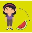 girl cartoon sliced watermelon vector image