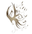 Gold bird with curls vector image