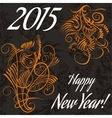 New year card with floral pattern vector image