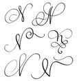 set of art calligraphy letter n with flourish of vector image