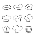 Set of chef hats isolated on white background vector image